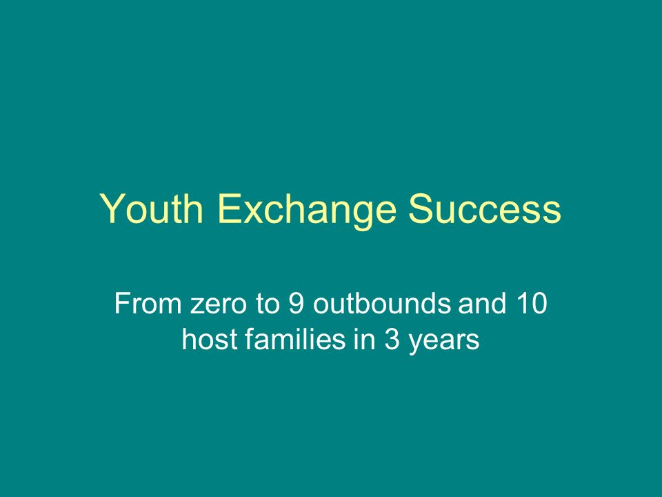Youth Exchange Success From zero to 9 outbounds and 10 host families in 3 years