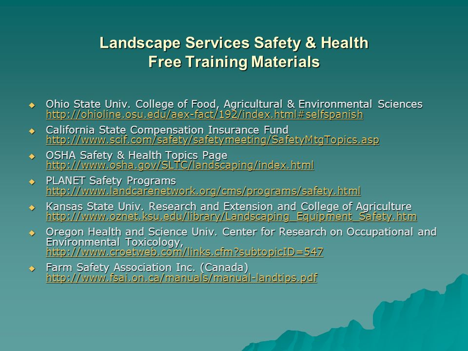 Landscape Services Safety & Health Free Training Materials Ohio State Univ.