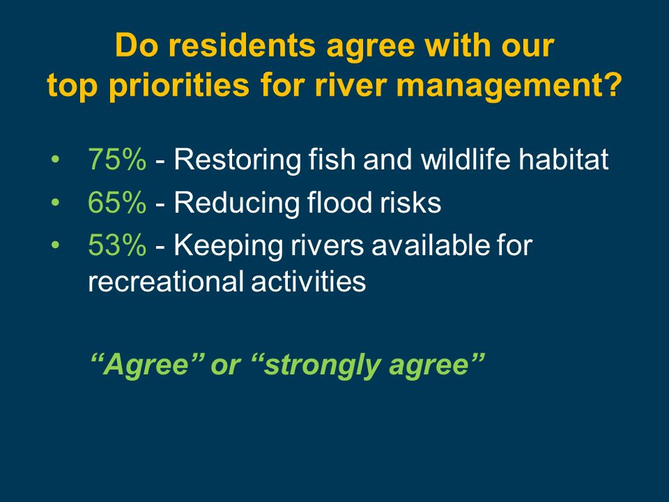 Do residents agree with our top priorities for river management.