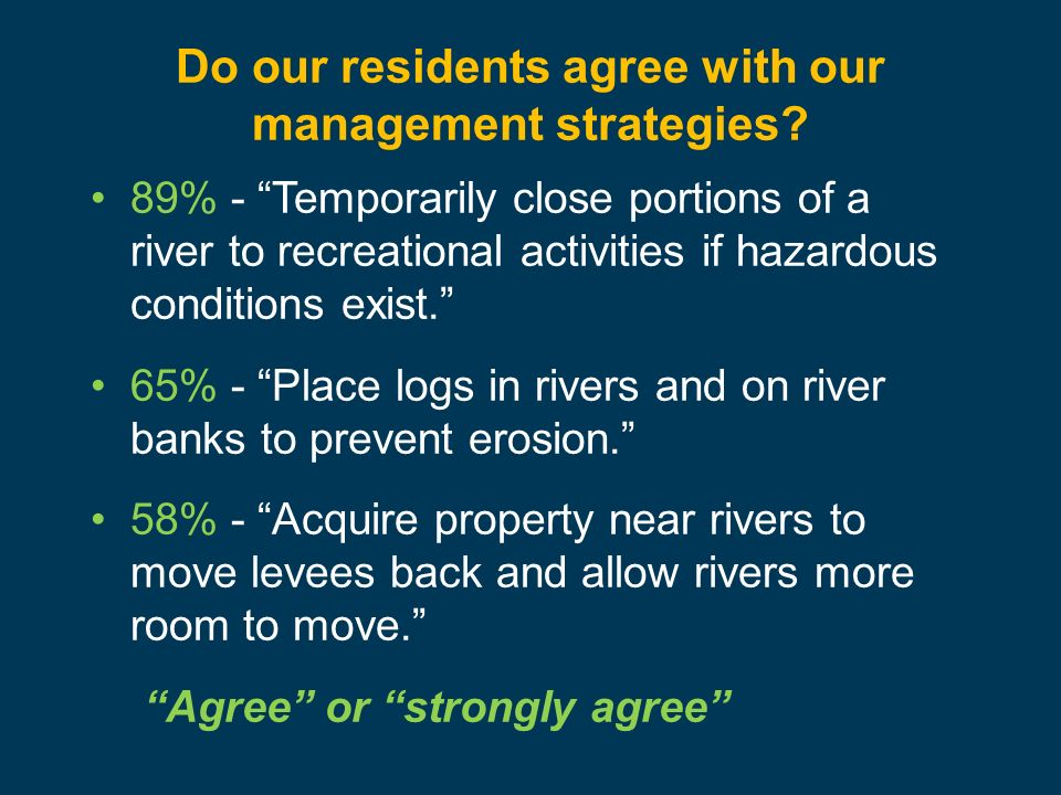 Do our residents agree with our management strategies? 89% - Temporarily close portions of a river to recreational activities if hazardous conditions