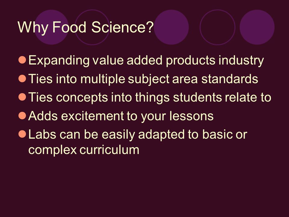 Why Food Science.