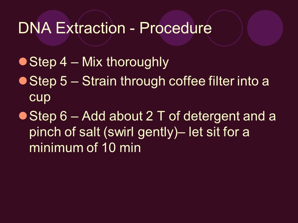 DNA Extraction - Procedure Step 4 – Mix thoroughly Step 5 – Strain through coffee filter into a cup Step 6 – Add about 2 T of detergent and a pinch of salt (swirl gently)– let sit for a minimum of 10 min