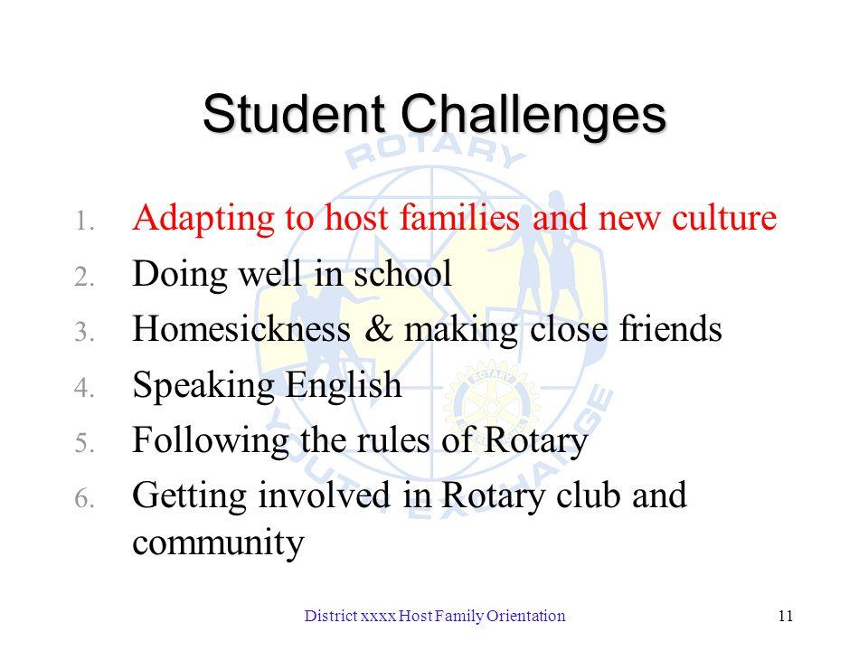 District xxxx Host Family Orientation11 Student Challenges 1.