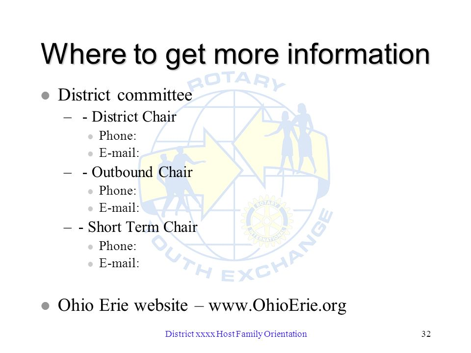 District xxxx Host Family Orientation32 Where to get more information l District committee – - District Chair l Phone: l E-mail: – - Outbound Chair l Phone: l E-mail: –- Short Term Chair l Phone: l E-mail: l Ohio Erie website – www.OhioErie.org