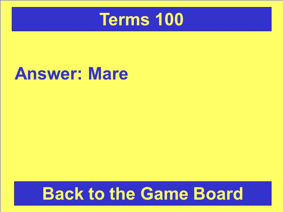 Answer: Mare Back to the Game Board Terms 100