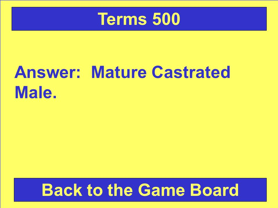 Answer: Mature Castrated Male. Back to the Game Board Terms 500