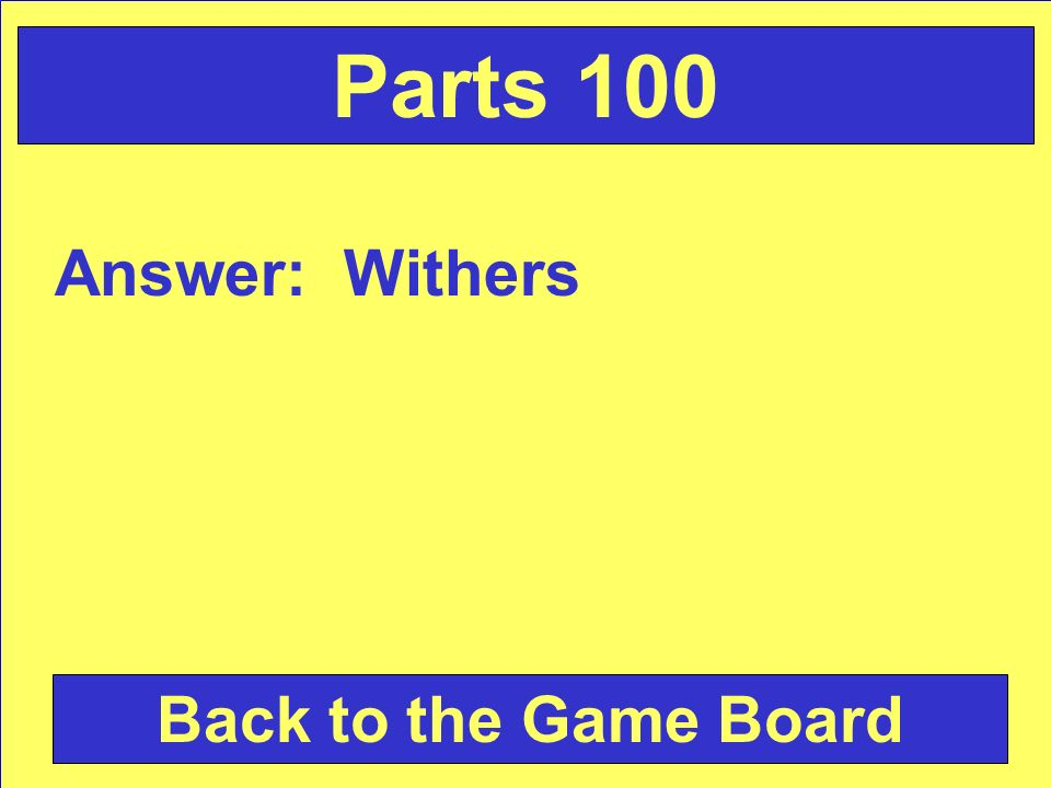 Answer: Withers Back to the Game Board Parts 100