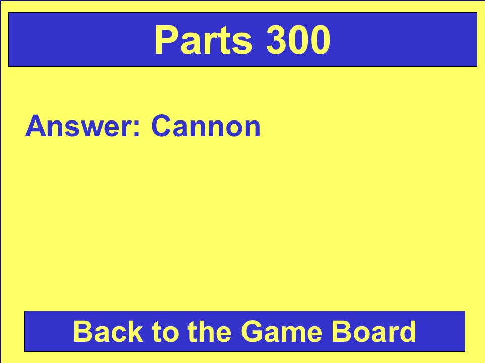 Answer: Cannon Back to the Game Board Parts 300
