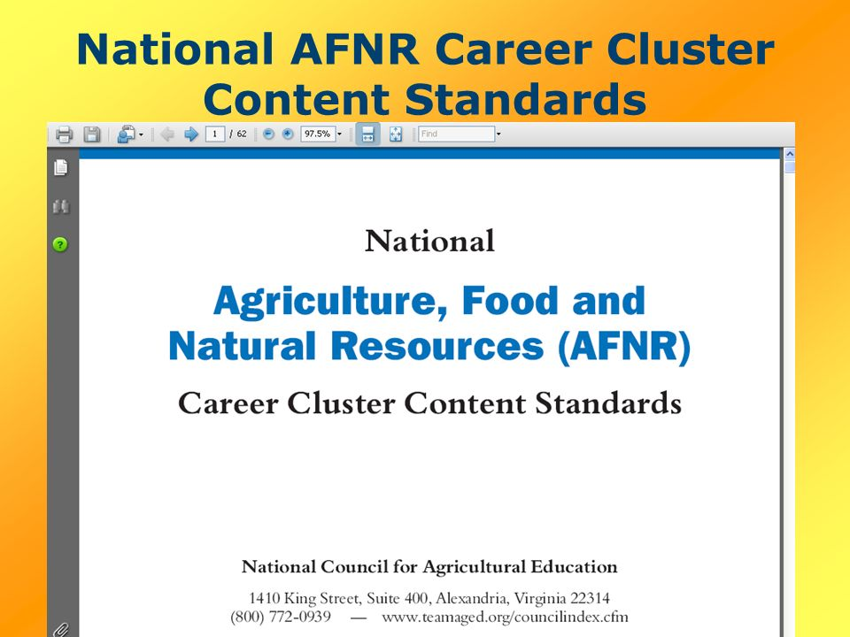National AFNR Career Cluster Content Standards