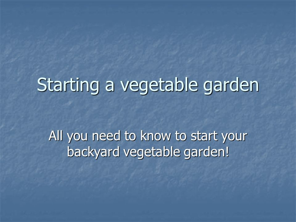 Starting a vegetable garden All you need to know to start your backyard vegetable garden!