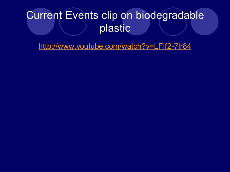 Current Events clip on biodegradable plastic http://www.youtube.com/watch v=LFlf2-7lr84