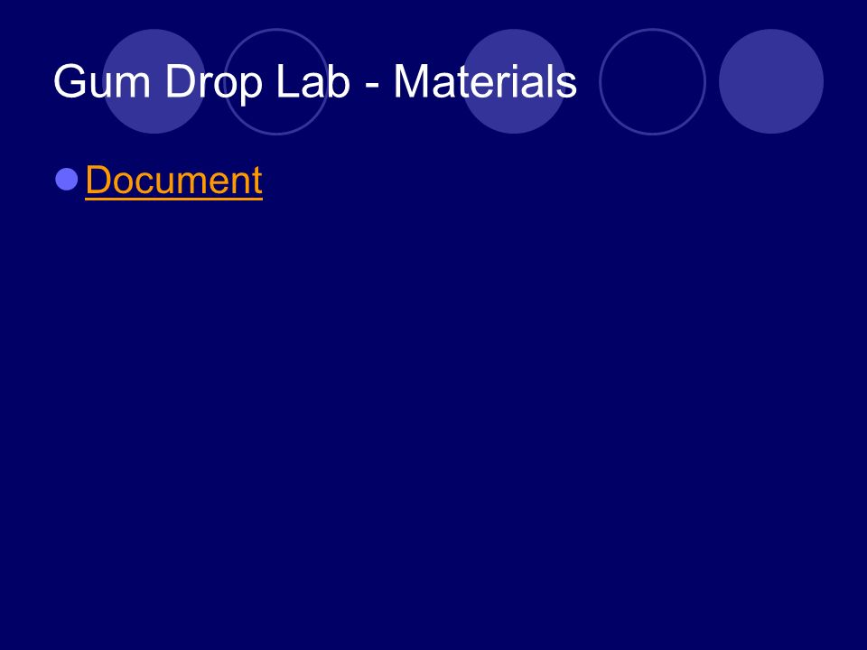 Gum Drop Lab - Materials Document