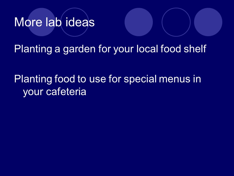 More lab ideas Planting a garden for your local food shelf Planting food to use for special menus in your cafeteria