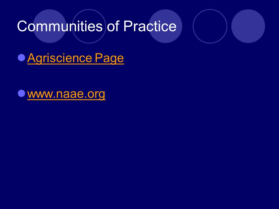 Communities of Practice Agriscience Page