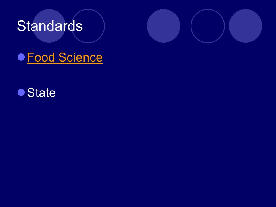 Standards Food Science State
