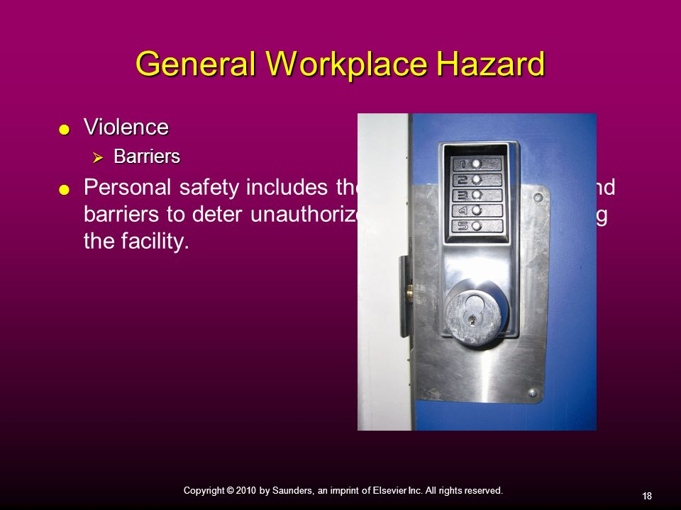 18 Copyright © 2010 by Saunders, an imprint of Elsevier Inc. All rights reserved. General Workplace Hazard Violence Violence Barriers Barriers Persona