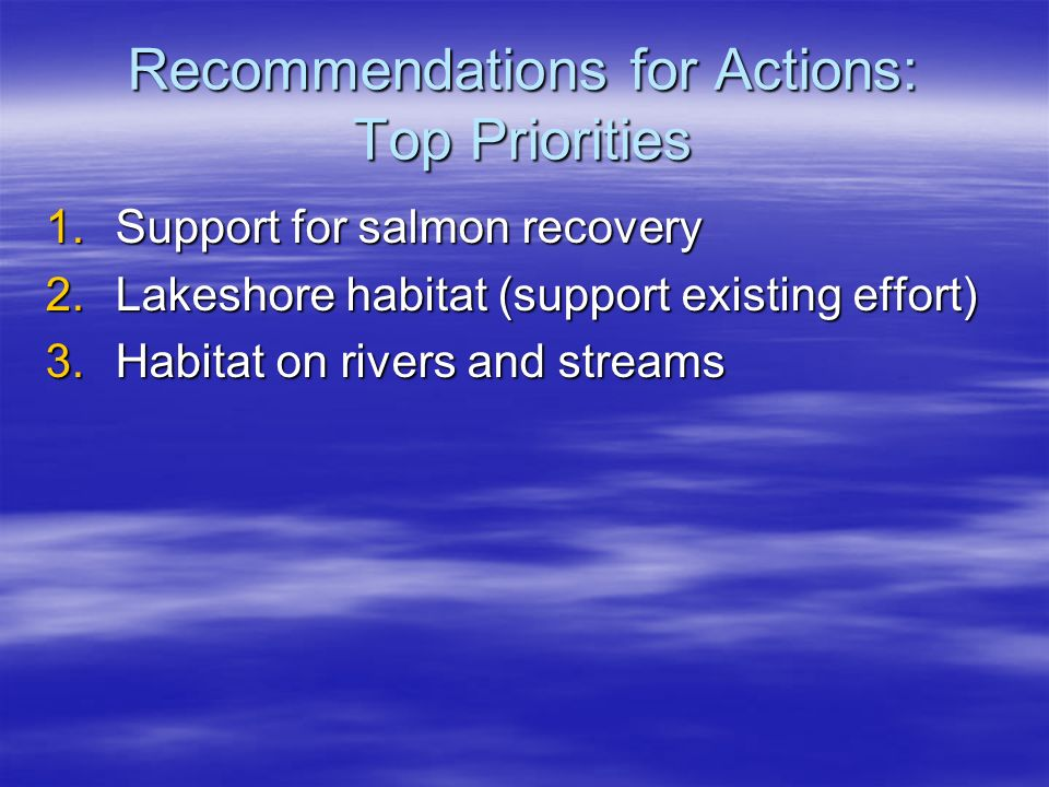Recommendations for Actions: Top Priorities 1.Support for salmon recovery 2.Lakeshore habitat (support existing effort) 3.Habitat on rivers and streams