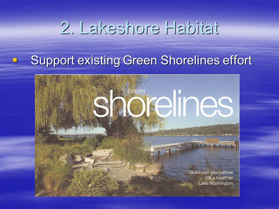 2. Lakeshore Habitat Support existing Green Shorelines effort Support existing Green Shorelines effort