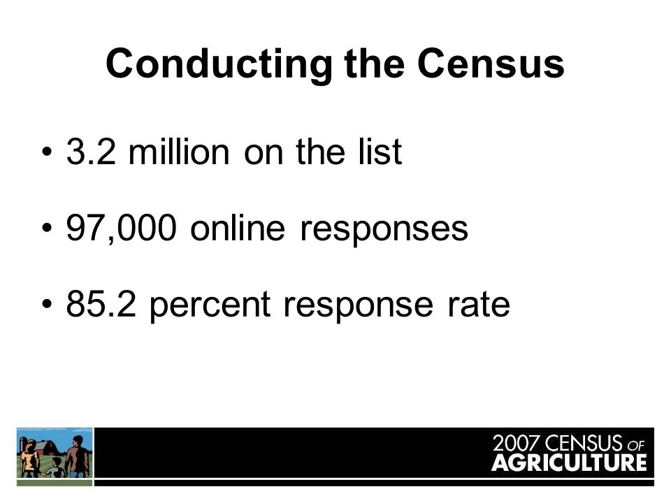 Conducting the Census 3.2 million on the list 97,000 online responses 85.2 percent response rate