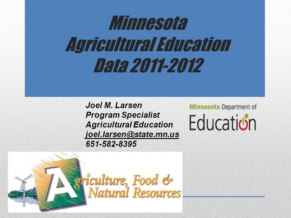 Minnesota Agricultural Education Data Joel M.