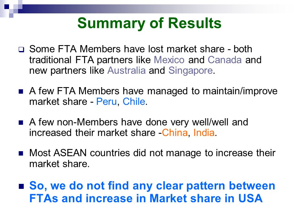 Summary of Results Some FTA Members have lost market share - both traditional FTA partners like Mexico and Canada and new partners like Australia and