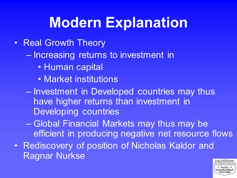 Modern Explanation Real Growth Theory –Increasing returns to investment in Human capital Market institutions –Investment in Developed countries may th