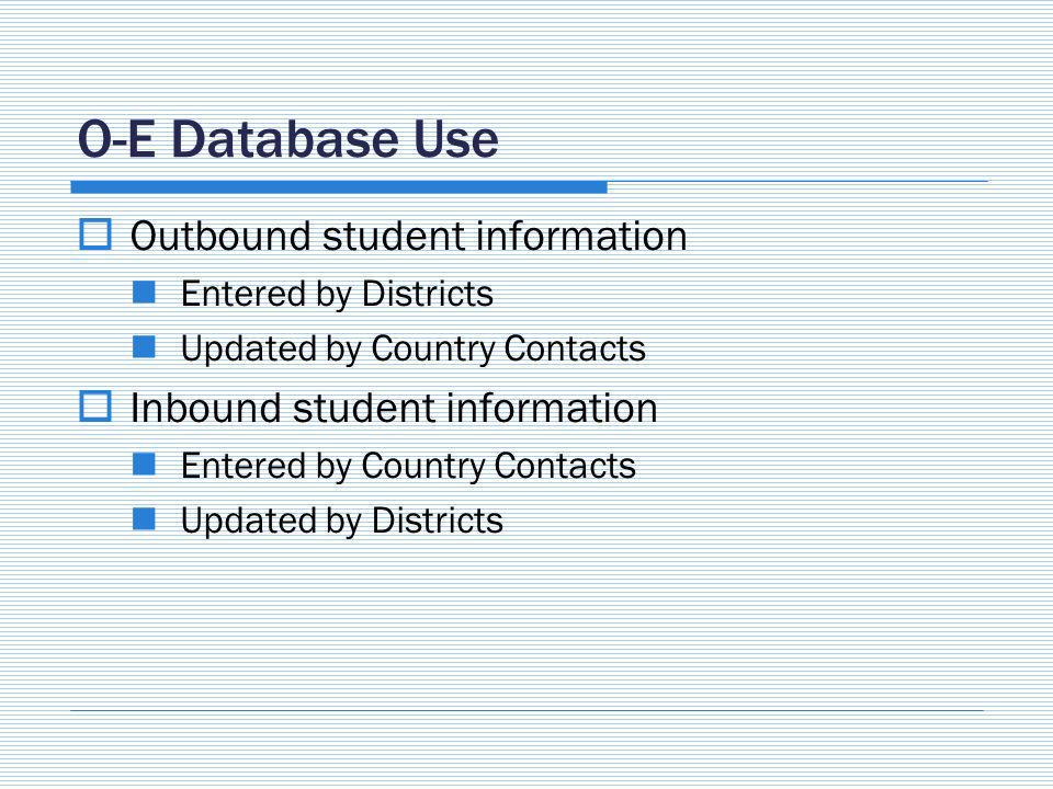 O-E Database Use Outbound student information Entered by Districts Updated by Country Contacts Inbound student information Entered by Country Contacts Updated by Districts