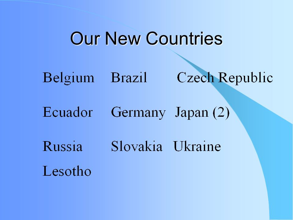 Our New Countries