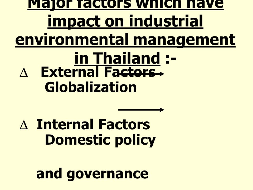 Major factors which have impact on industrial environmental management in Thailand :- External Factors Globalization Internal Factors Domestic policy and governance
