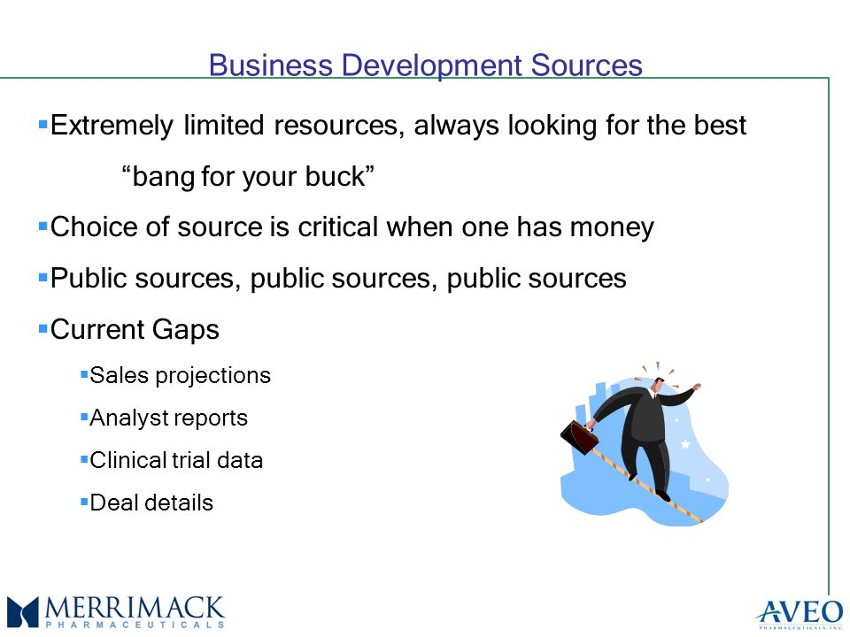 Business Development Sources Extremely limited resources, always looking for the best bang for your buck Choice of source is critical when one has money Public sources, public sources, public sources Current Gaps Sales projections Analyst reports Clinical trial data Deal details