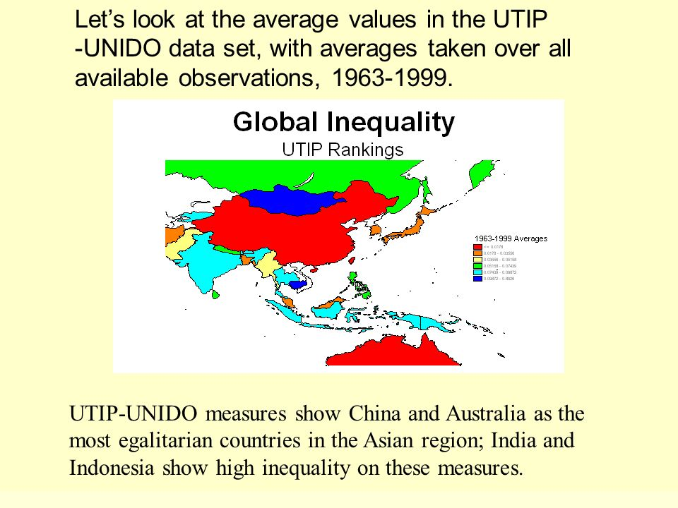 UTIP-UNIDO measures show China and Australia as the most egalitarian countries in the Asian region; India and Indonesia show high inequality on these