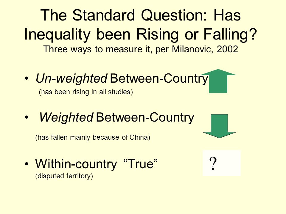 The Standard Question: Has Inequality been Rising or Falling? Three ways to measure it, per Milanovic, 2002 Un-weighted Between-Country (has been risi