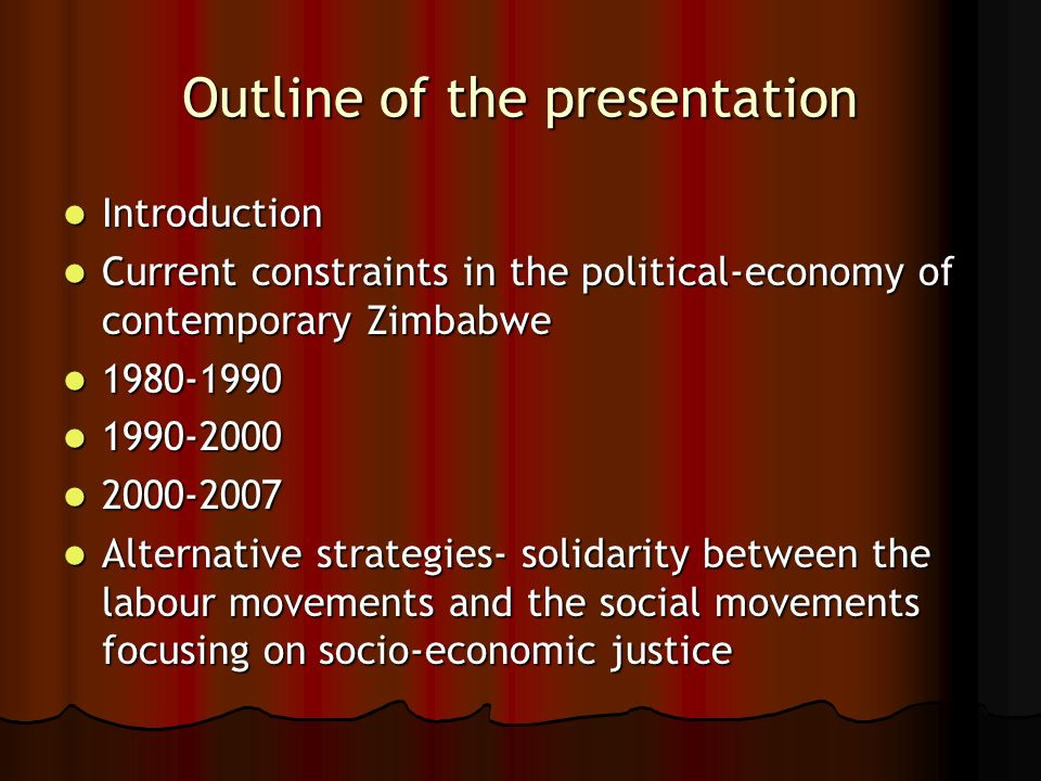 Outline of the presentation Introduction Introduction Current constraints in the political-economy of contemporary Zimbabwe Current constraints in the