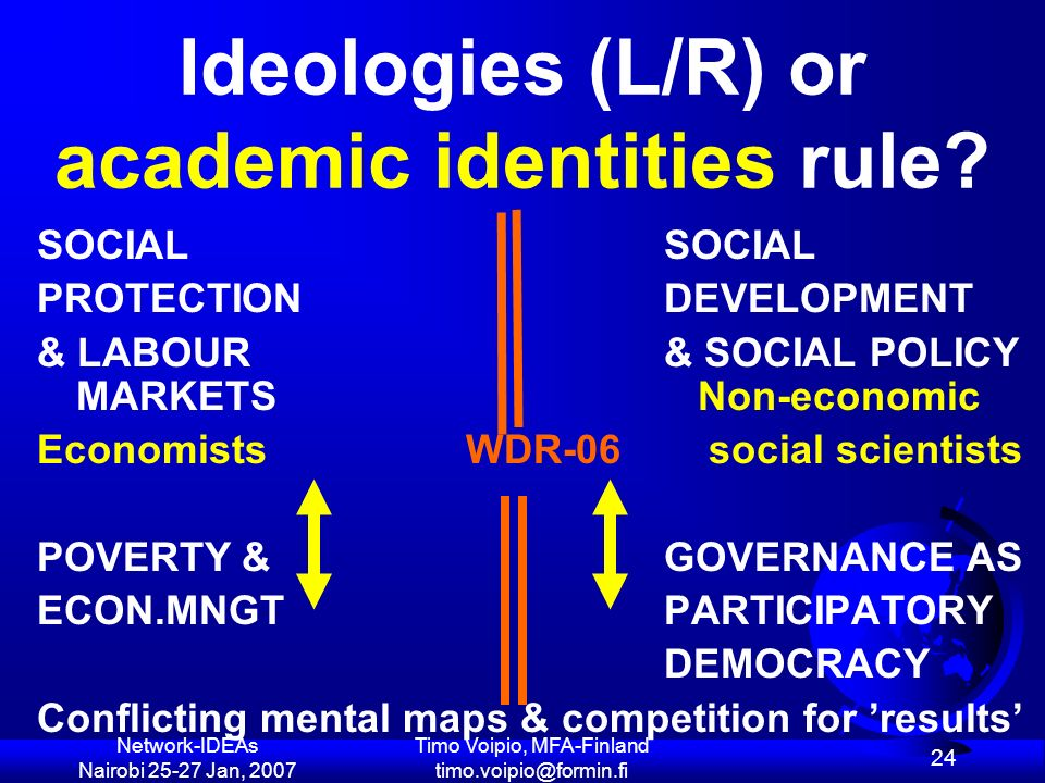 Network-IDEAs Nairobi 25-27 Jan, 2007 Timo Voipio, MFA-Finland timo.voipio@formin.fi 24 Ideologies (L/R) or academic identities rule.