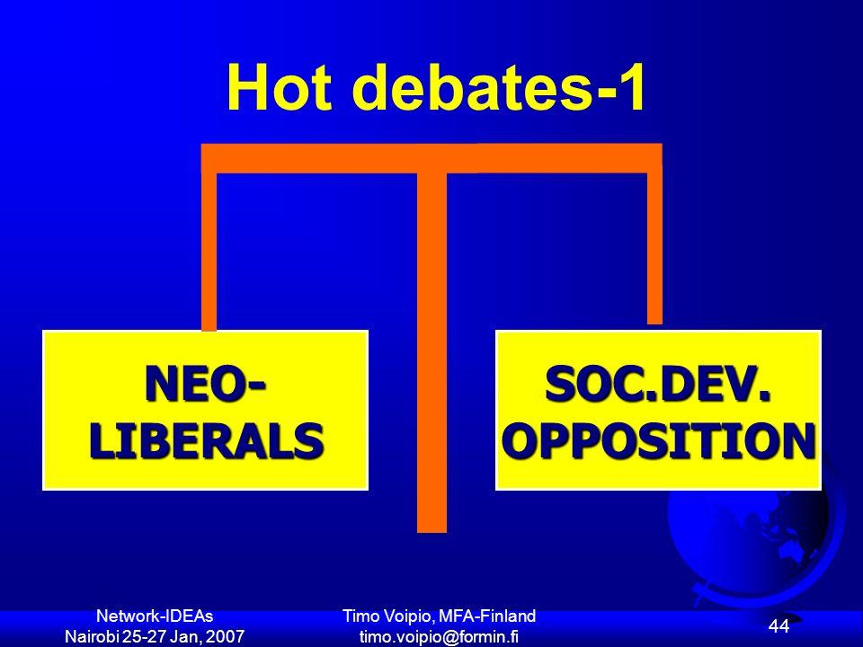 Network-IDEAs Nairobi 25-27 Jan, 2007 Timo Voipio, MFA-Finland timo.voipio@formin.fi 44 SOC.DEV.OPPOSITIONNEO-LIBERALS Hot debates-1