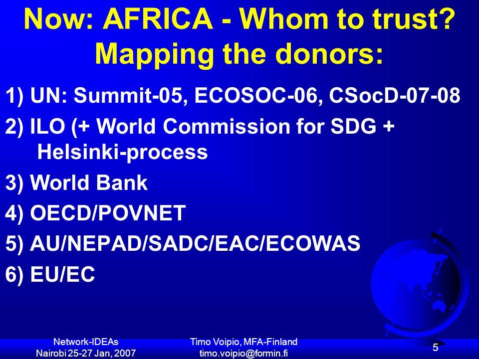 Network-IDEAs Nairobi 25-27 Jan, 2007 Timo Voipio, MFA-Finland timo.voipio@formin.fi 66 UN + WB: SOCIAL WB & UN: ECONOMIC In principle, both WB & UN should promote a balanced sustainable devt agenda on RIGHTS/SOCIAL JUSTICE ENVIRONMENT