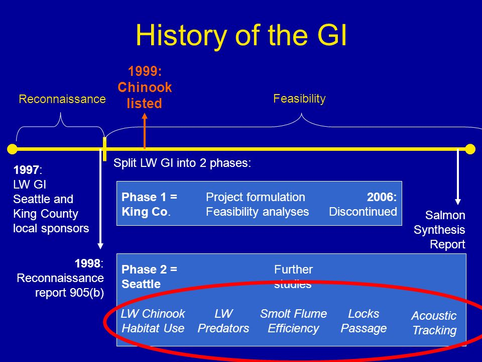 History of the GI 1997: LW GI Seattle and King County local sponsors Reconnaissance 1998: Reconnaissance report 905(b) Feasibility Split LW GI into 2 phases: 1999: Chinook listed 2006: Discontinued Phase 1 = King Co.