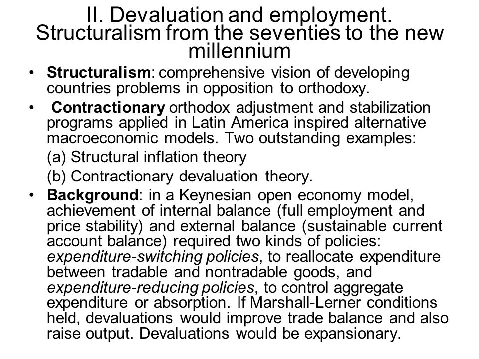 II. Devaluation and employment.