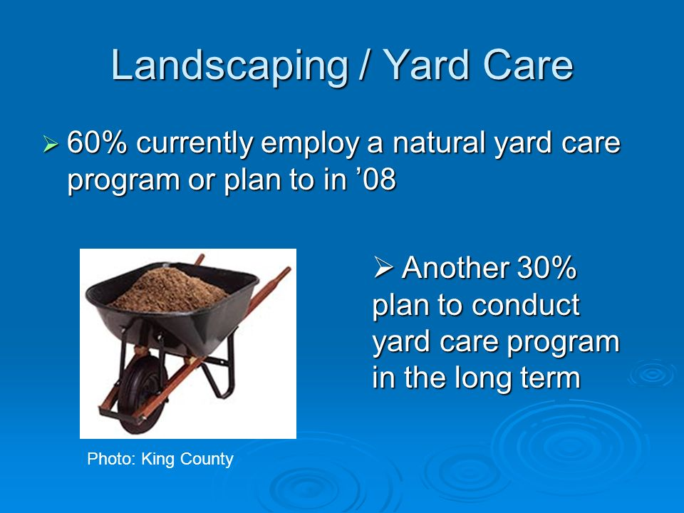 Landscaping / Yard Care 60% currently employ a natural yard care program or plan to in 08 60% currently employ a natural yard care program or plan to