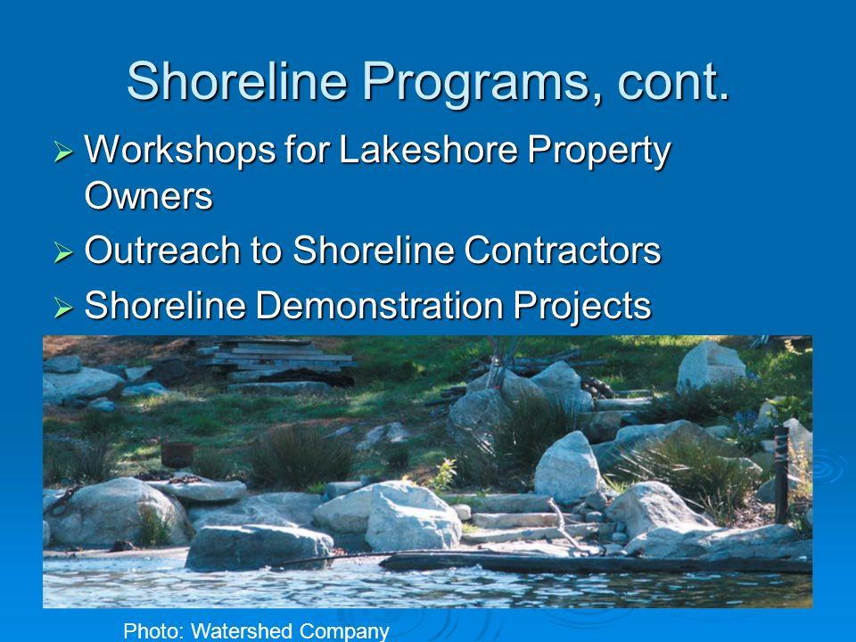 Shoreline Programs, cont. Workshops for Lakeshore Property Owners Workshops for Lakeshore Property Owners Outreach to Shoreline Contractors Outreach t