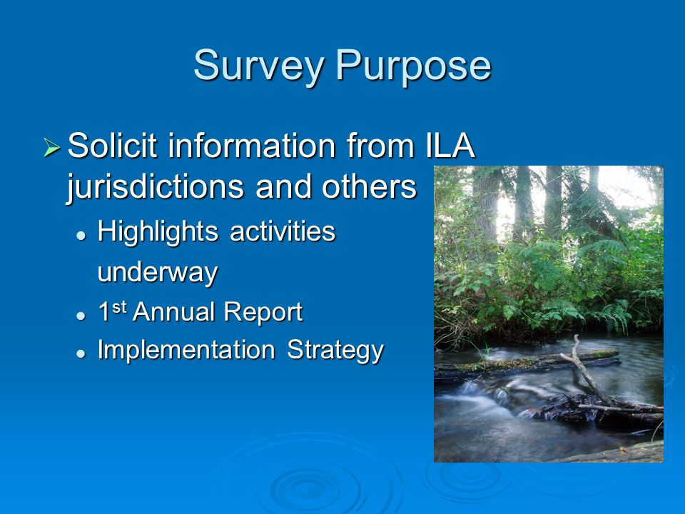 Survey Purpose Solicit information from ILA jurisdictions and others Solicit information from ILA jurisdictions and others Highlights activities Highlights activitiesunderway 1 st Annual Report 1 st Annual Report Implementation Strategy Implementation Strategy