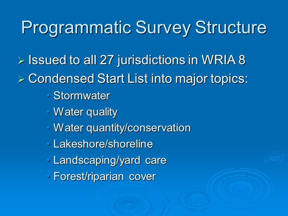 Programmatic Survey Structure Issued to all 27 jurisdictions in WRIA 8 Issued to all 27 jurisdictions in WRIA 8 Condensed Start List into major topics