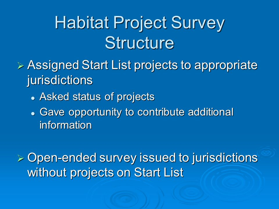 Habitat Project Survey Structure Assigned Start List projects to appropriate jurisdictions Assigned Start List projects to appropriate jurisdictions A