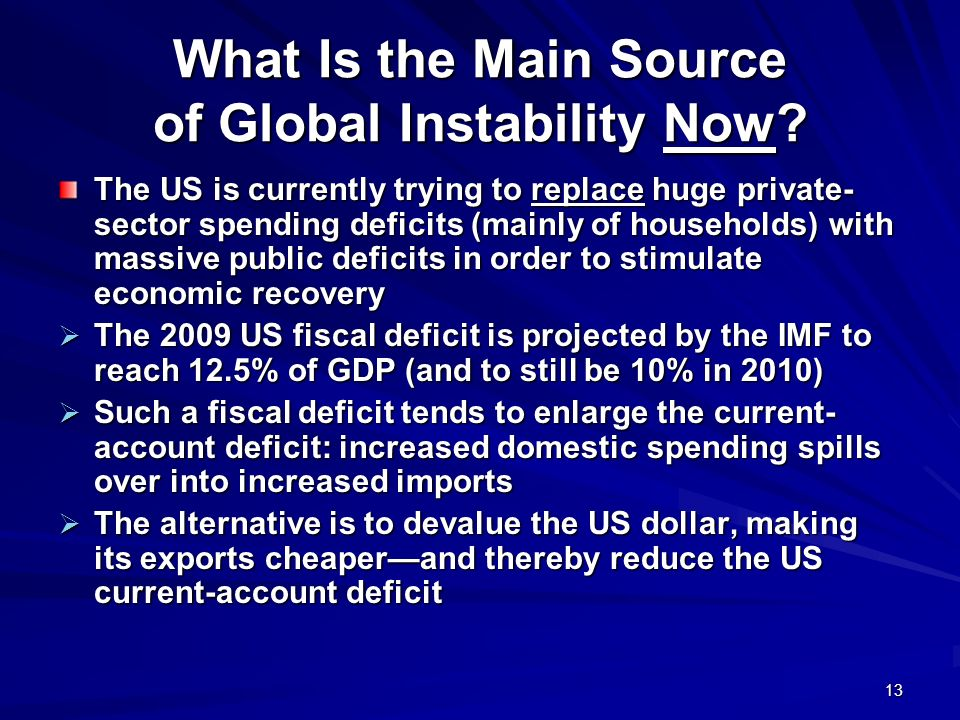 13 What Is the Main Source of Global Instability Now? The US is currently trying to replace huge private- sector spending deficits (mainly of househol