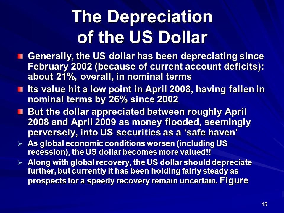 15 The Depreciation of the US Dollar Generally, the US dollar has been depreciating since February 2002 (because of current account deficits): about 2