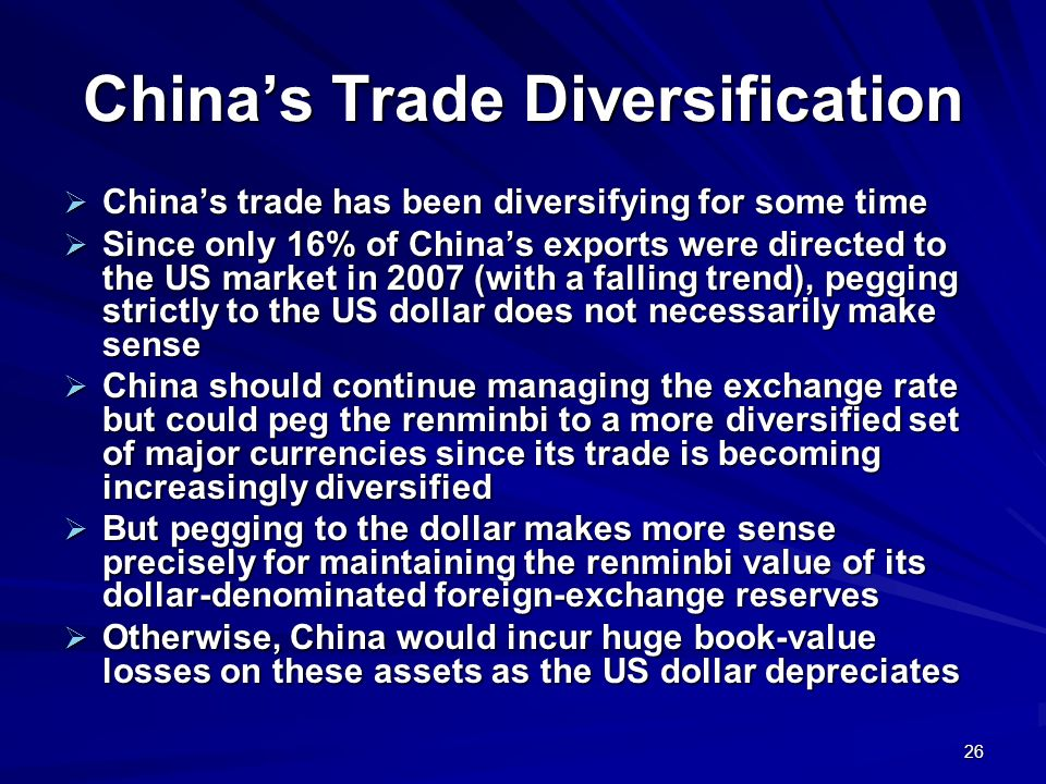 26 Chinas Trade Diversification Chinas trade has been diversifying for some time Chinas trade has been diversifying for some time Since only 16% of Ch