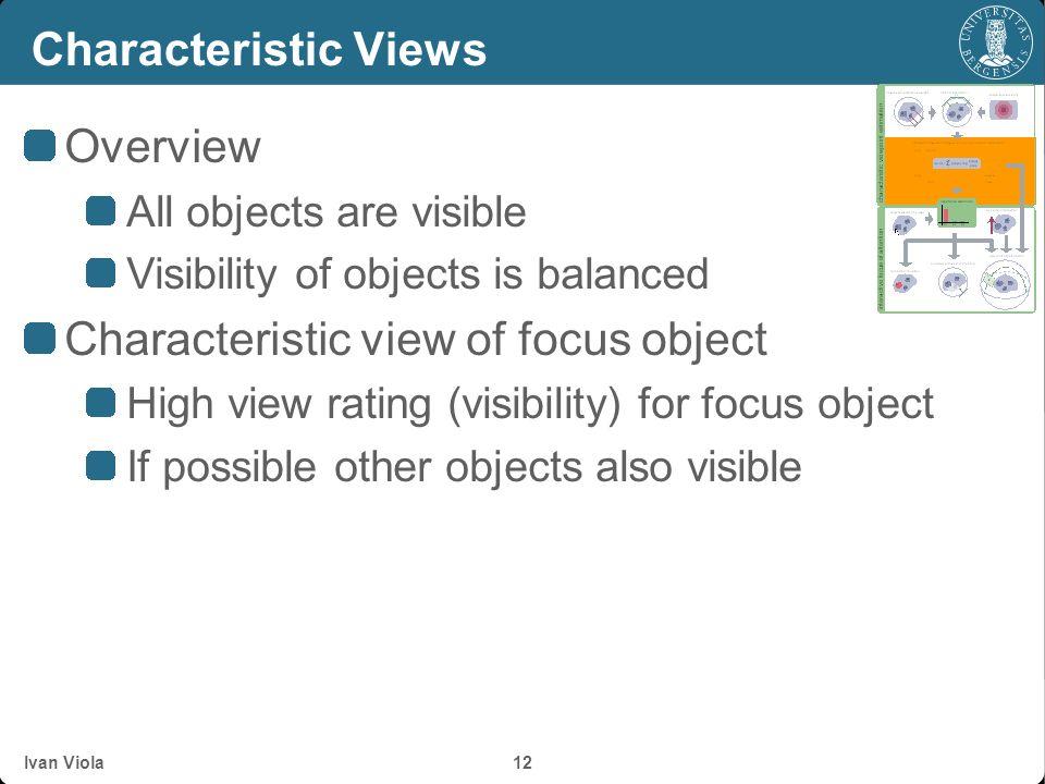 Ivan Viola 11 Characteristic Viewpoint Estimation o 2 o 3 o 1 importance distribution v 1 v 2 v 3 o 1 o 2 o 3 visibility estimation image-space weight