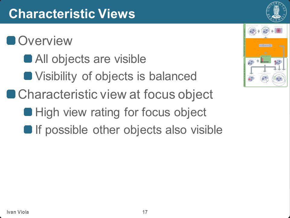 Ivan Viola 16 Viewpoint Mutual Information Degree of correlation v j O p(v 1 ) p(v 2 ) p(v 3 )... p(v n ) p(o 1 )p(o 2 )p(o 3 )p(o m )... p(o 1 |v 1 )
