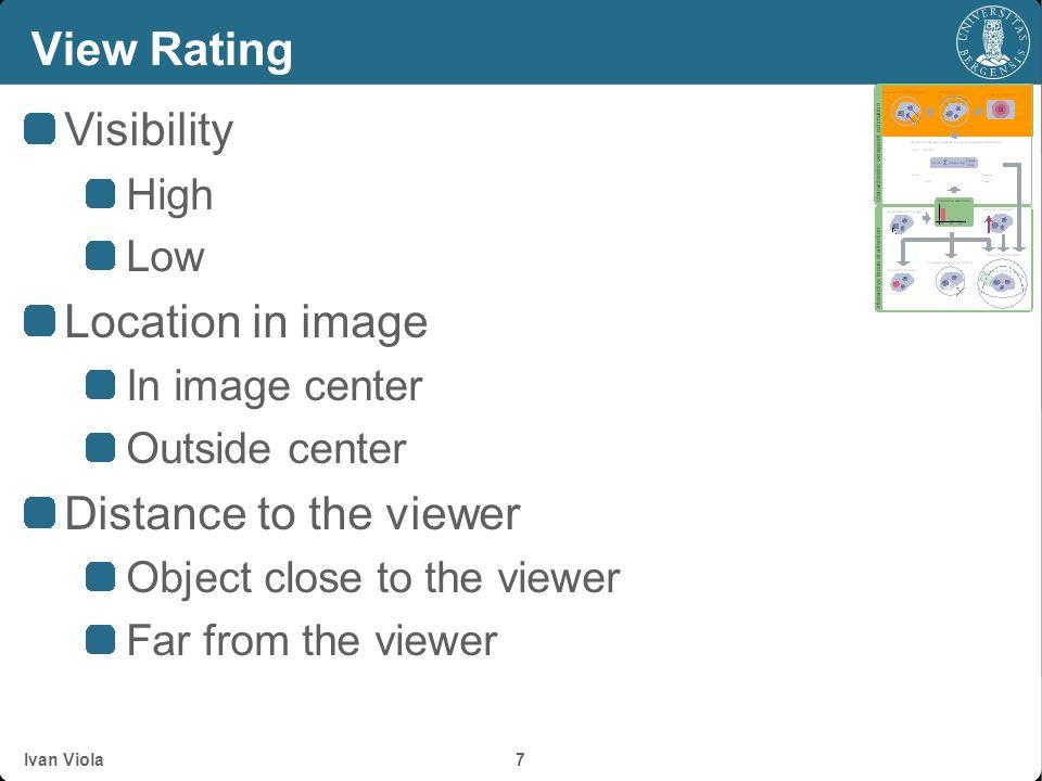Ivan Viola 6 View rating v1v1 v2v2 v3v3 v4v4 v5v5 v6v6 v7v7 v8v8 o1o1 o2o2 o3o3 For every view For every object