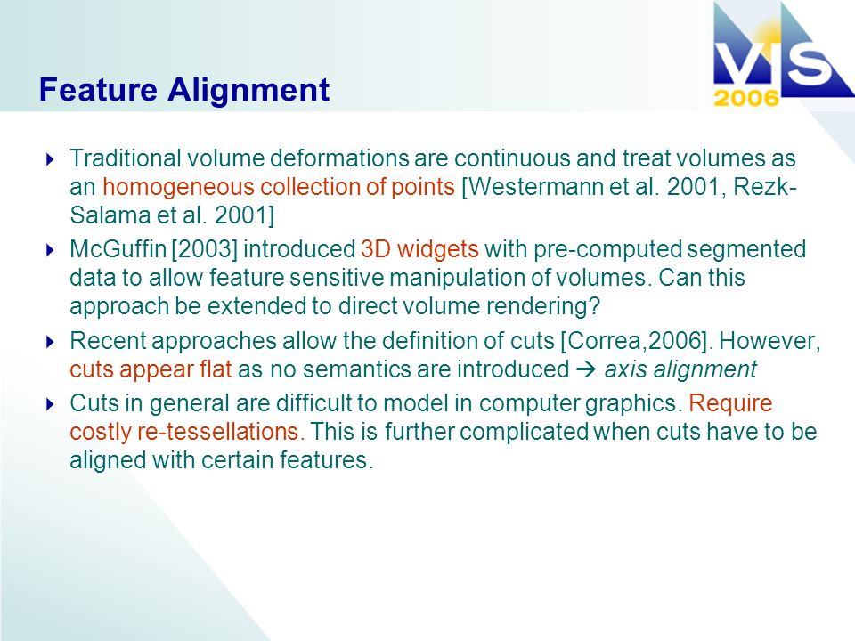 Axis Alignment Treating volumes as homogeneous collections of voxels leads to axis alignment of cuts.